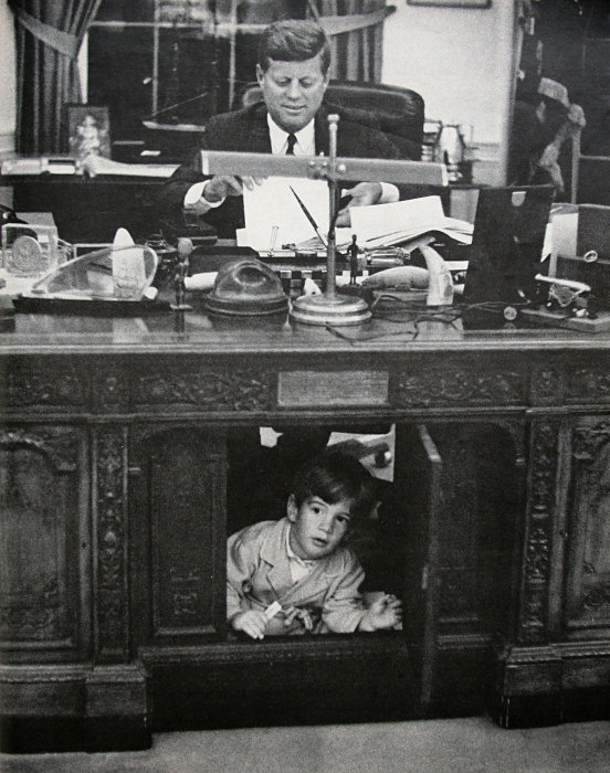 Resolute desk, Oval Office furniture, White House antiques, HMS Resolute, FDRs desk, JFK and John Jr, Antique desks