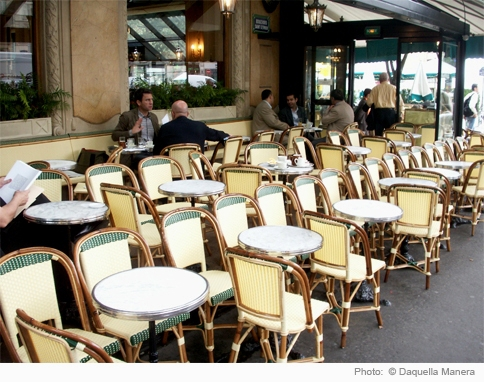 Bistro Table, French Cafe Chairs, Paris Cafe Chairs, Rattan, Les Deux Magots