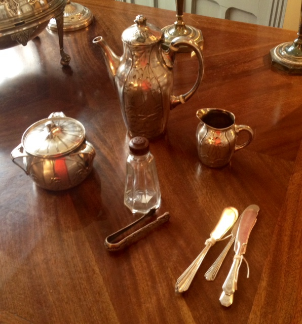 Antique tea sets, the history of tea time, The Antiques Diva, silver tea set