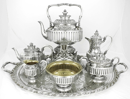 silver-tea-set-by-oidiot-paris-c-1880, Antique tea sets, the history of tea time, The Antiques Diva, Silver Tea Set French