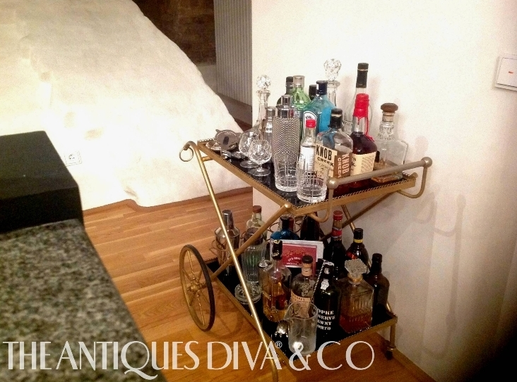 Vintage Bar Cart, Antiques Diva Cocktails, Cocktail shakers, vintage cocktail picks, bar tools, classic cocktails, home bar setup