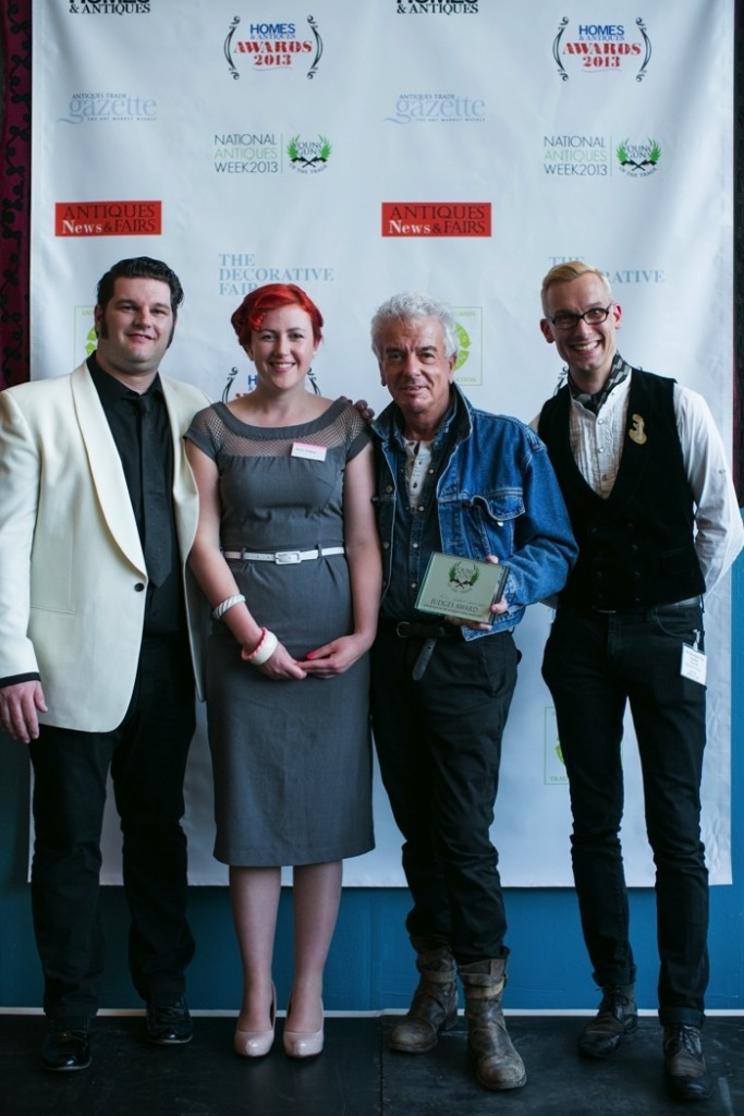 Alys Dobbie of Nanadobbie pictured with George Johnson, Nicky Haslam and Mark Hill.  Antiques Diva Guide Alys