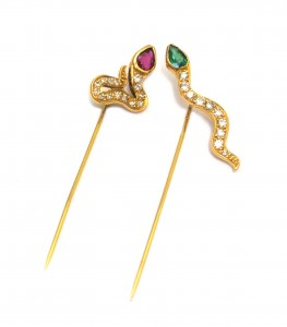 Diem - 1960s snake stick pin set with ruby emerald and diamonds, 18ct gold