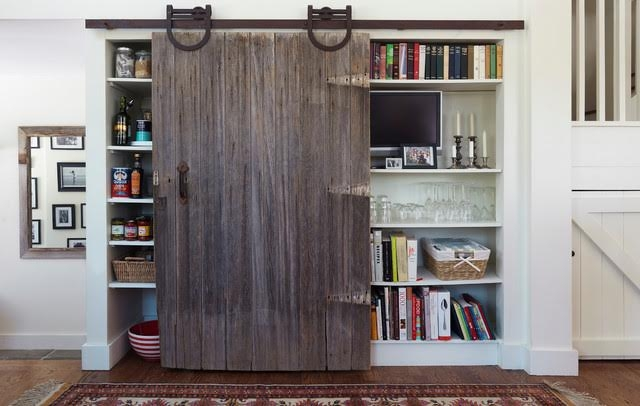 Architectural Salvage- Barn Door Trend- Bookcase