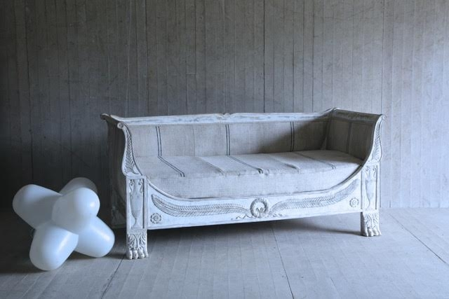 Antique Day Bed-Empire Day Bed early 19th C with later paint