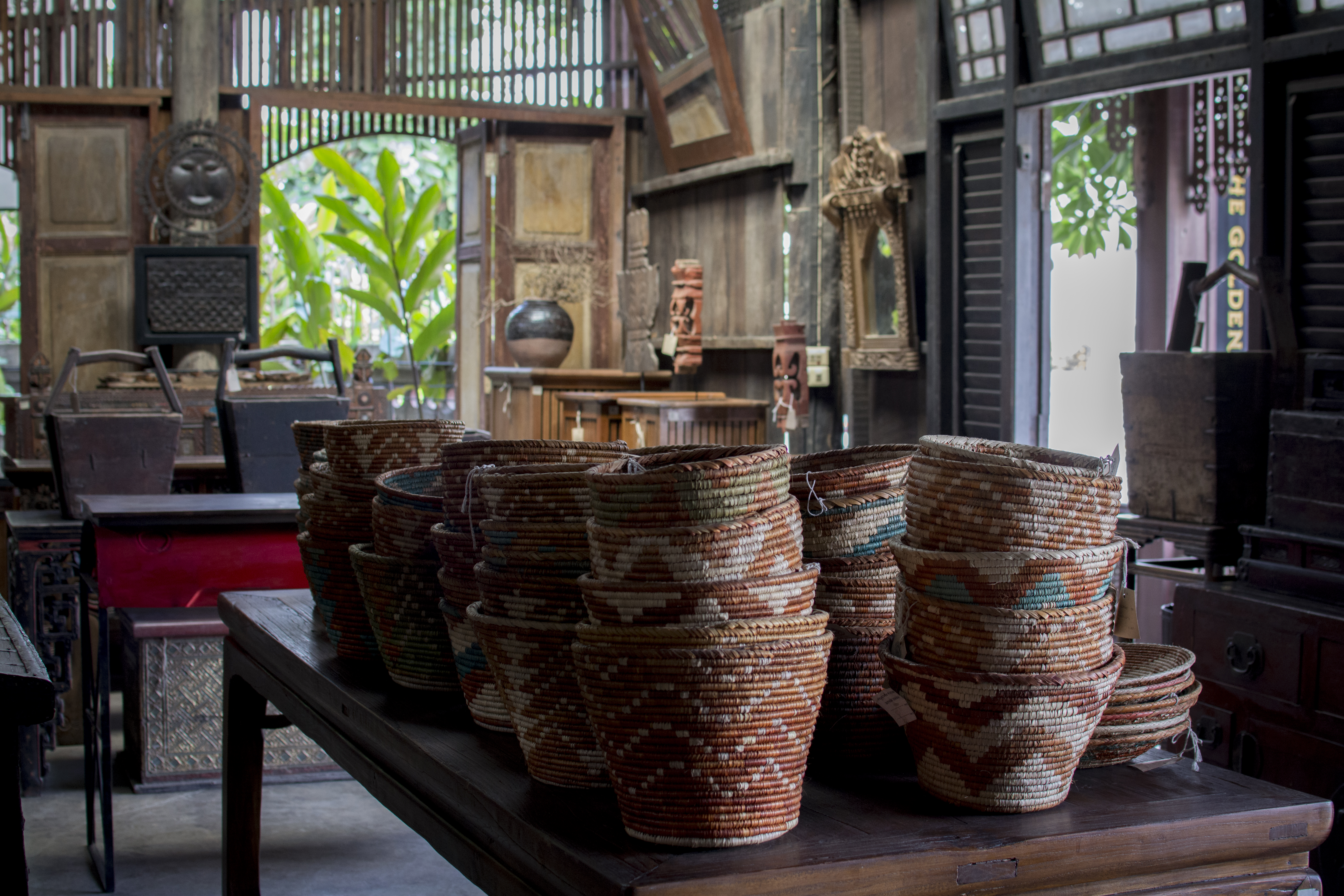 Handwoven Baskets on Antqiue Asian Furniture Antiques Diva Asia Buying Tours Thailand: Chiang Mai