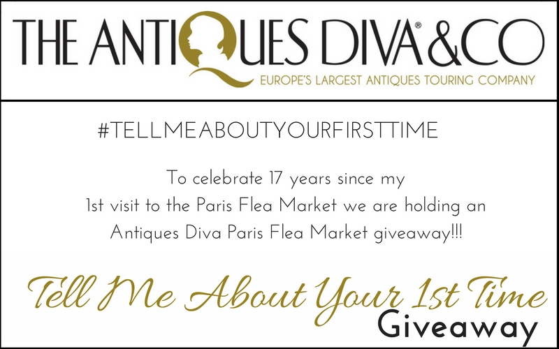 #TellMeAboutYourFirstTime To celebrate 17 years since my first visit to the Paris Flea Market, this September we are holding an Antiques Diva Paris Flea Market giveaway!!!
