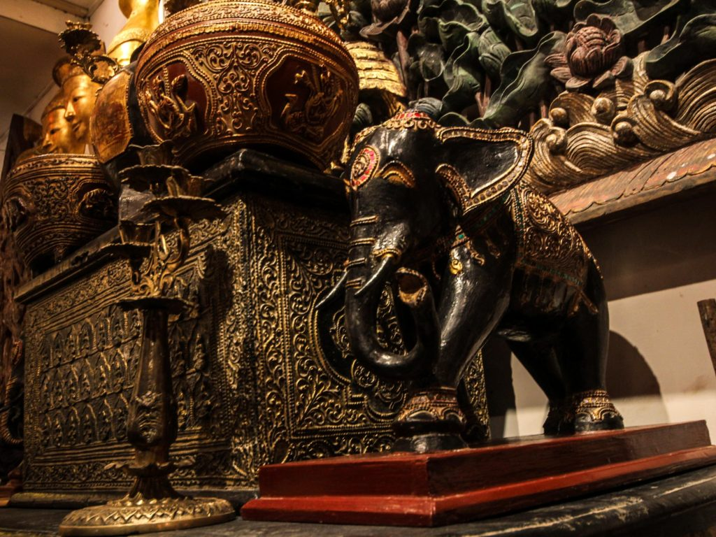 Gilded Elephant Statue and Manuscript Box Myanmar (Burma) Asia Antiques Buying Tours with The Antiques Diva