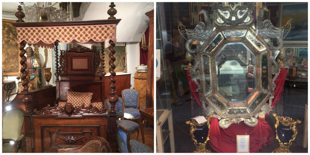 antique beds and mirrors at the Paris Flea Market