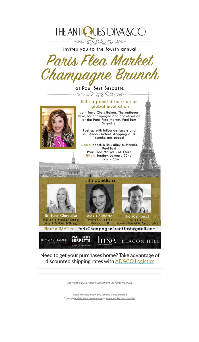 You're Invited to The Antiques Diva 4th Annual Paris Flea Market Champagne Brunch