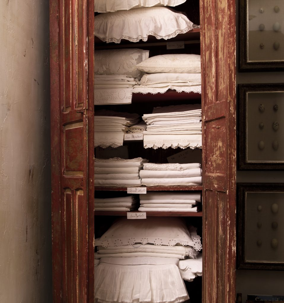 Linen Closet with Antique Linens
