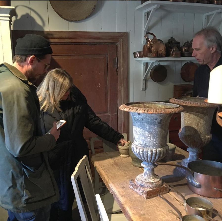 Margaret Schwartz sourcing antiques in Sweden with Divo Guide Daniel Larsson