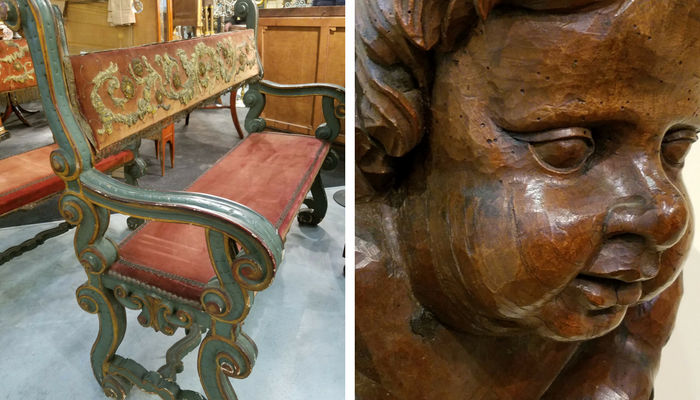 Pair of 18th century Tuscan benches and one of four hand carved cherub heads we purchased