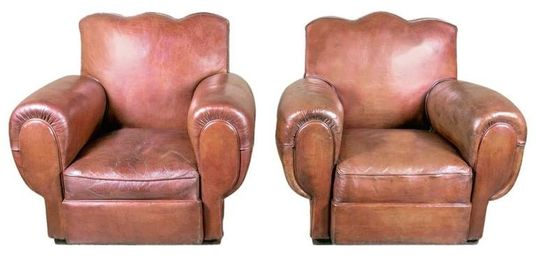French chairs at Lolo French Antiques: Pair Art Deco Fauteil Confortable