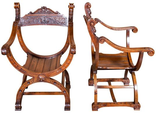 French chairs at Lolo French Antiques: Pair Renaissance Dagobert chairs