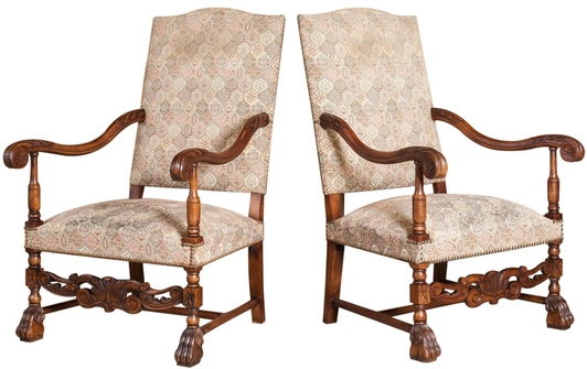 French chairs at Lolo French Antiques: Louis XIV Fauteuils.