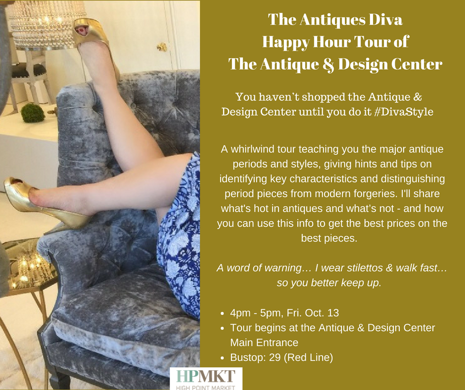 The Antiques Diva Happy Hour Tour of The Antique & Design Center at HPMKT