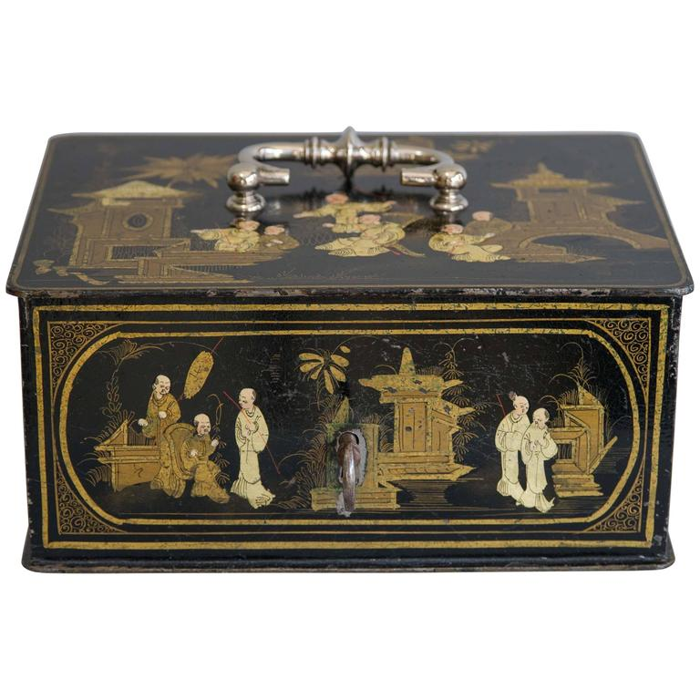 19th Century Black and Gold Chinoiserie Strong Box 1st Dibs