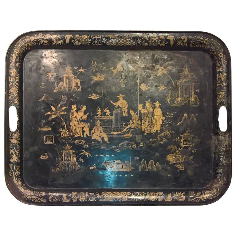 19th Century Large Chinoiserie Iron Black and Gold Tray, 1st Dibs