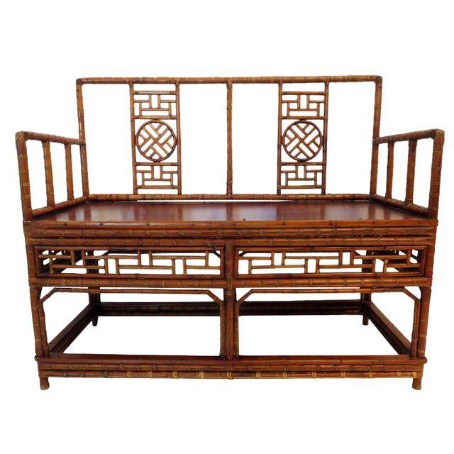 Antique Chinese Bamboo Chinoiserie Settee, DECASO