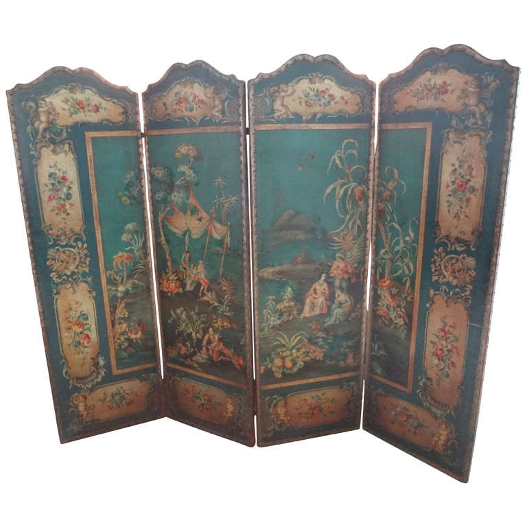 Antique Italian - 4 Panel Leather Chinoiserie Screen 1stDibs