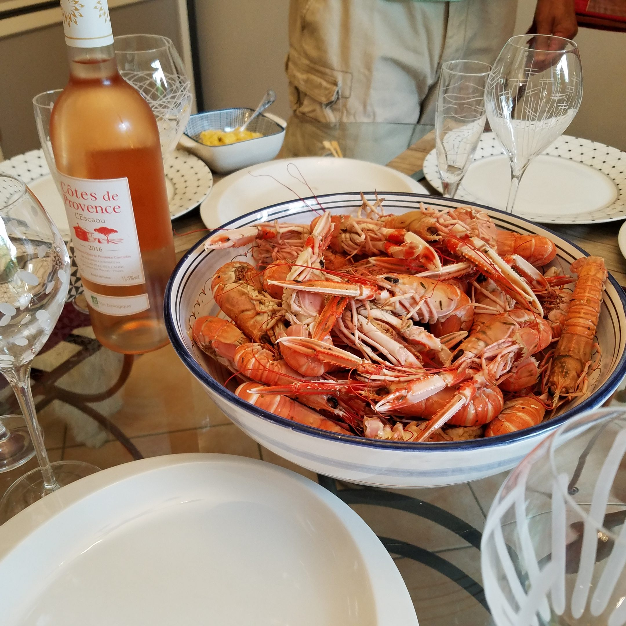 Lolo French Antiques.langoustine dinner at home