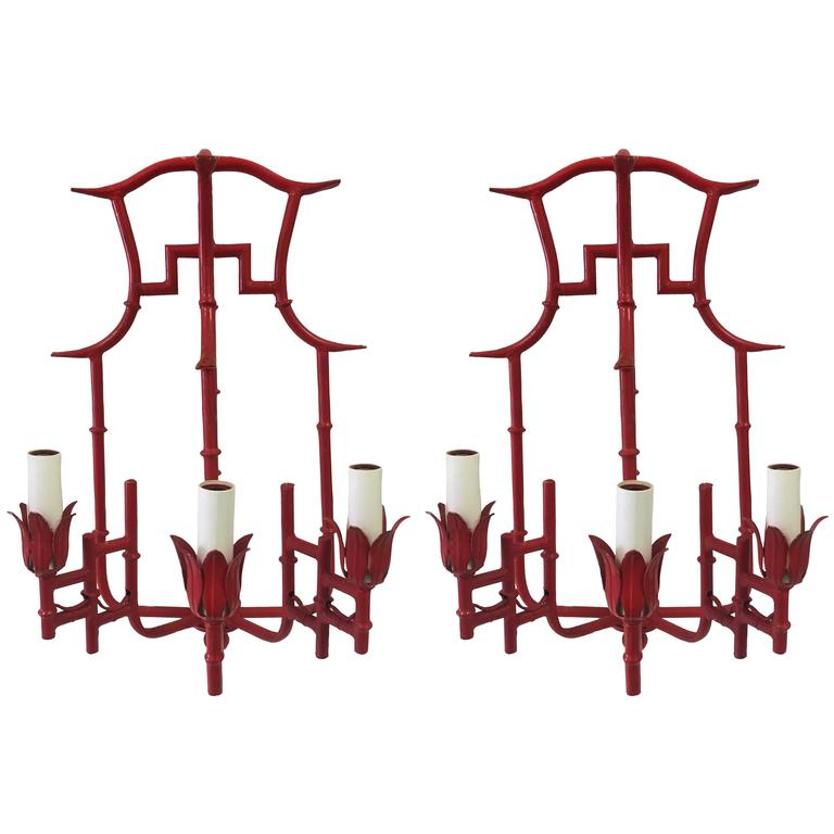Pair of Red Chinoiserie Bamboo Sconces, 1st Dibs