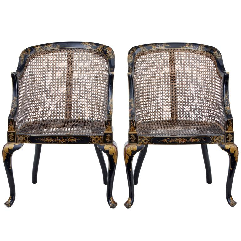 Pair of early 20th Century Lacquered Chinoiserie Cane Chairs, 1st Dibs