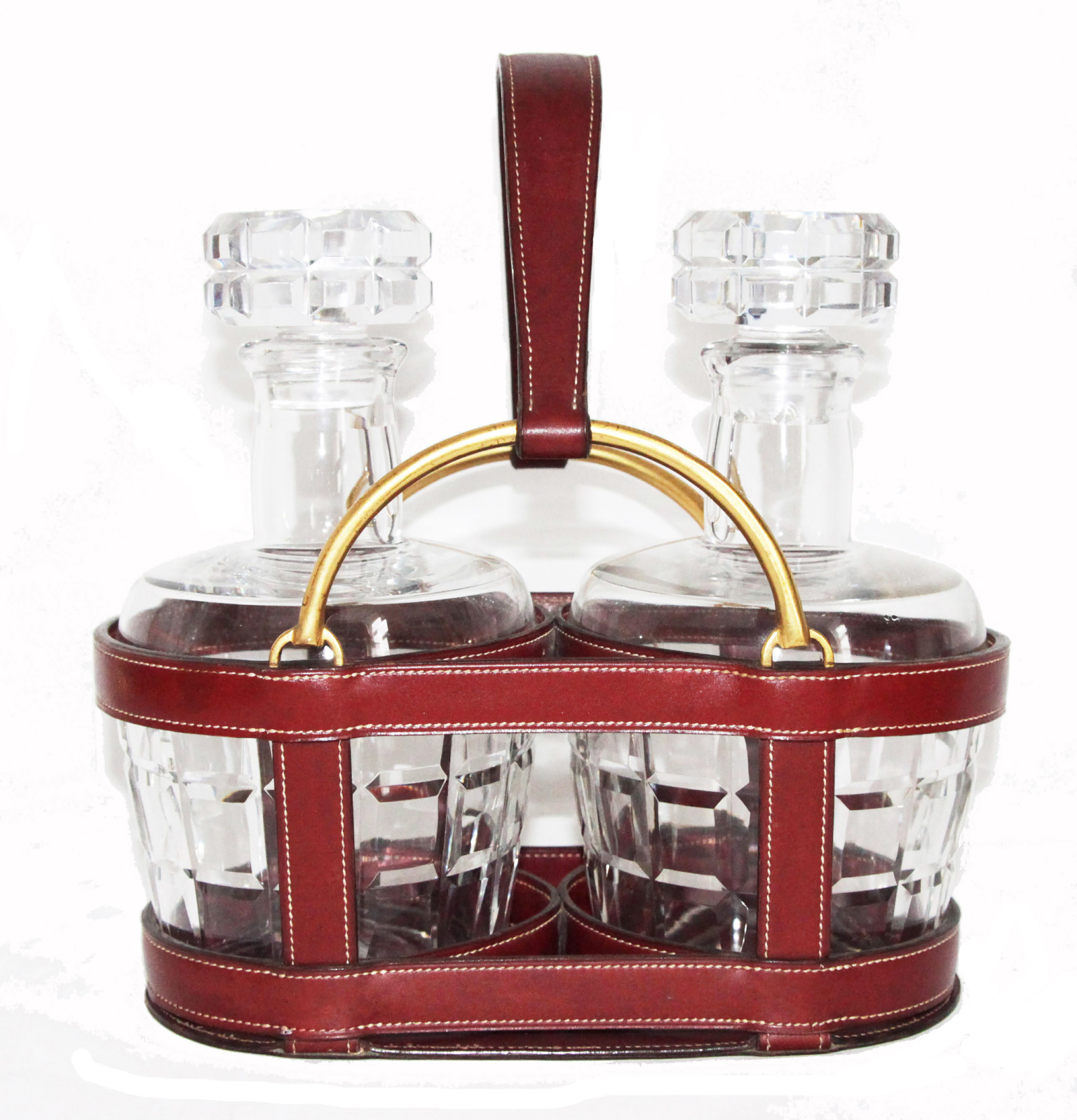 Hermès double crystal bottle set leather, 1960