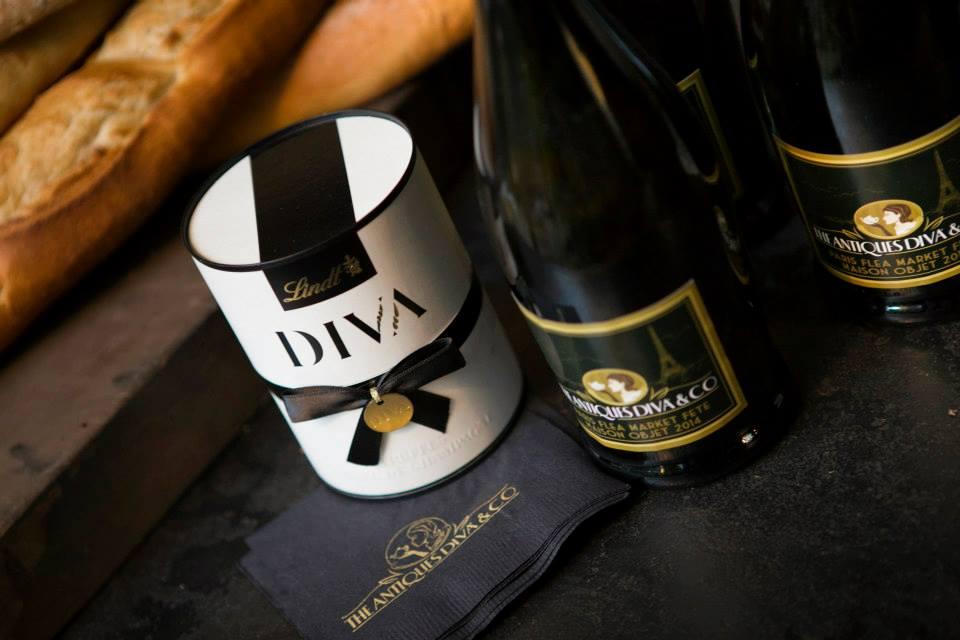 Diva champagne and chocolates at The Antiques Diva Paris Flea Market Fête