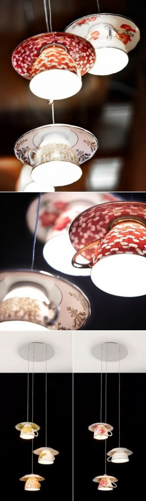 Repurposed Porcelain, repurposed flea market finds, lighting