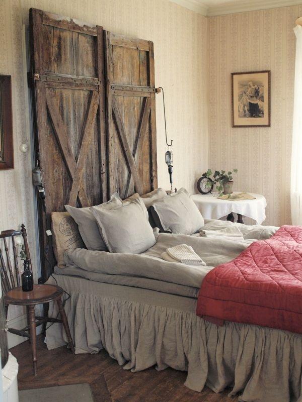 Pinsperation, bedroom decor, wooden door headboard, repurposing antiques, flea market finds,The Antiques Diva