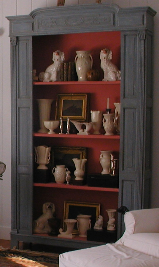 living room bookcase, Decorating tips, Recreating English Country Style, Staffordshire Dog, vintage tea caddies, Antiques Diva Buying Tours, Sourcing antiques in Europe, Decorating English Libraries