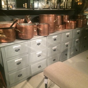 Lorfords Antiques at Babdown Airfield Copper casseroles and pans