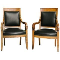 Biedermeier Furniture Pair of Chairs black leather