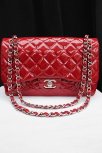 Vintage Chanel From Paris  bright red quilted patent leather bag