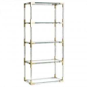 Antiques Diva Styles a Diva Den for Chairish Acryl Brass Etagere