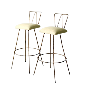 Antiques Diva Styles a Diva Den for Chairish Mid-Century Hairpin Stools - Pair