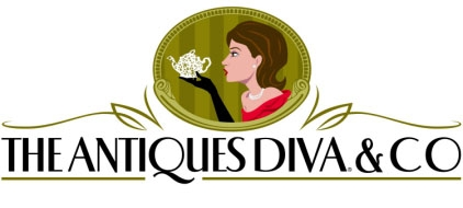 my 1st Antiques Diva Co logo depicts the teapot I purchased my first time at the Paris Flea Market