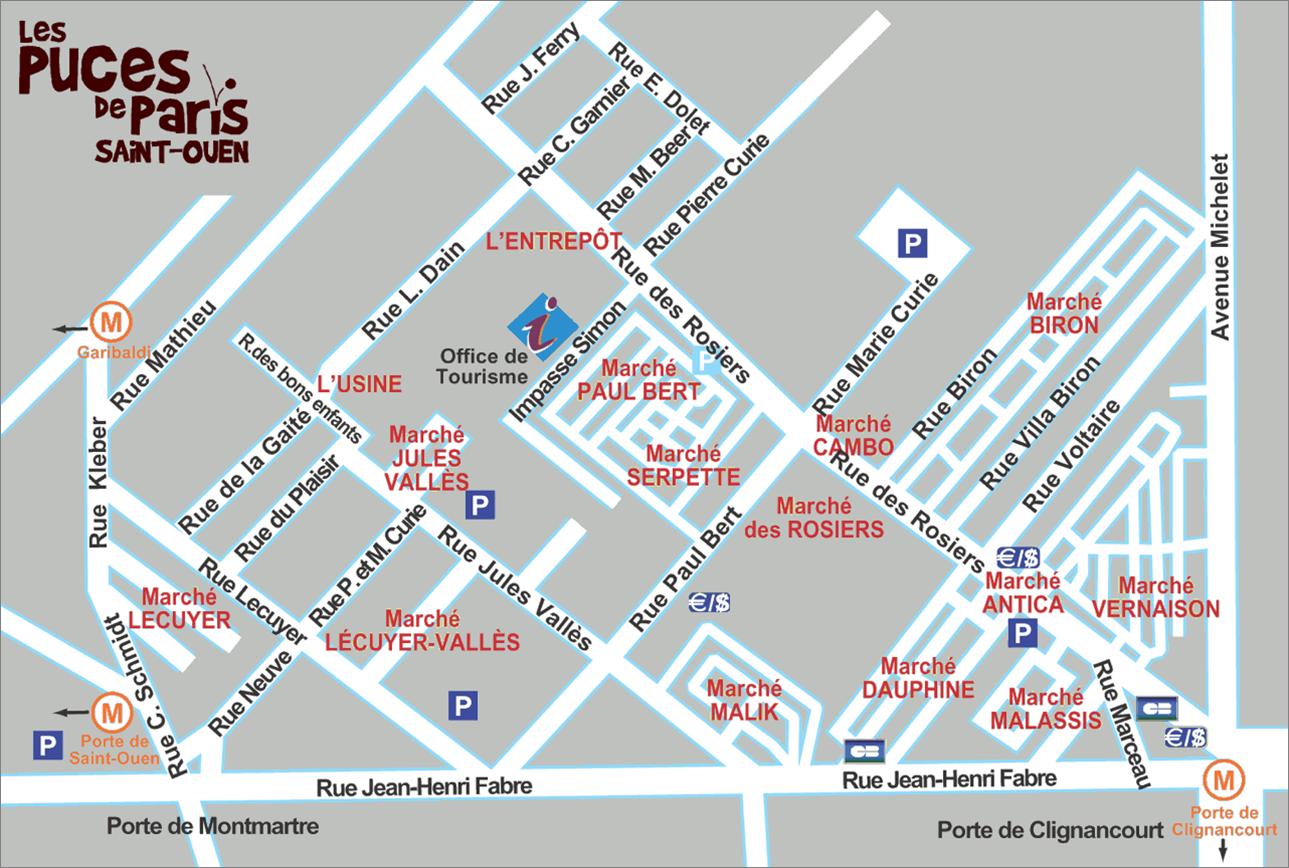Paris Flea Market map - The Antiques DivaThe Antiques Diva