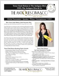 September 2017  | Toma Clark Haines | Antiques Diva Media Kit