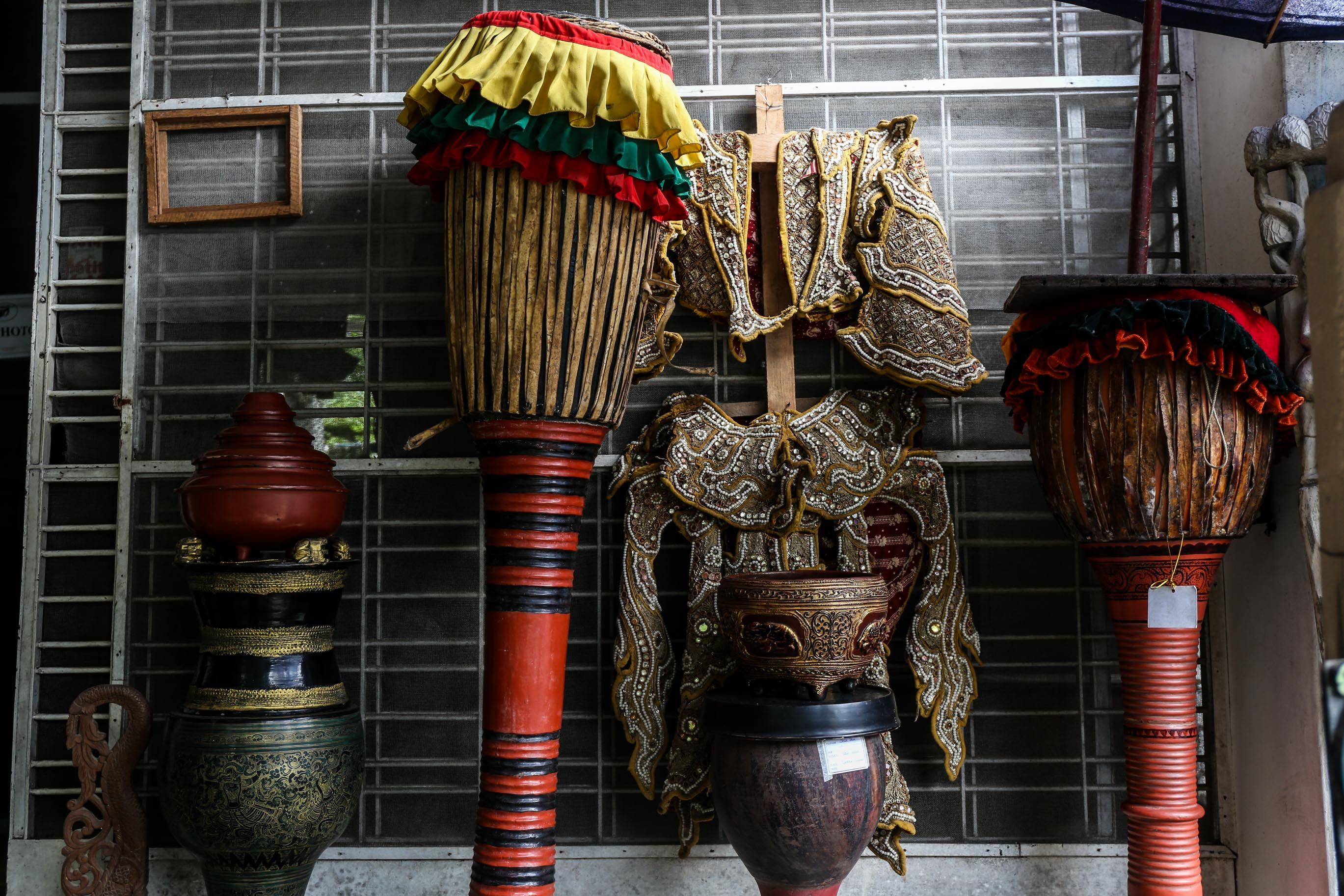 Tall Drums and Dance Costumes, Yangon, Myanmar (Burma) Asia Antiques Buying Tours with The Antiques Diva