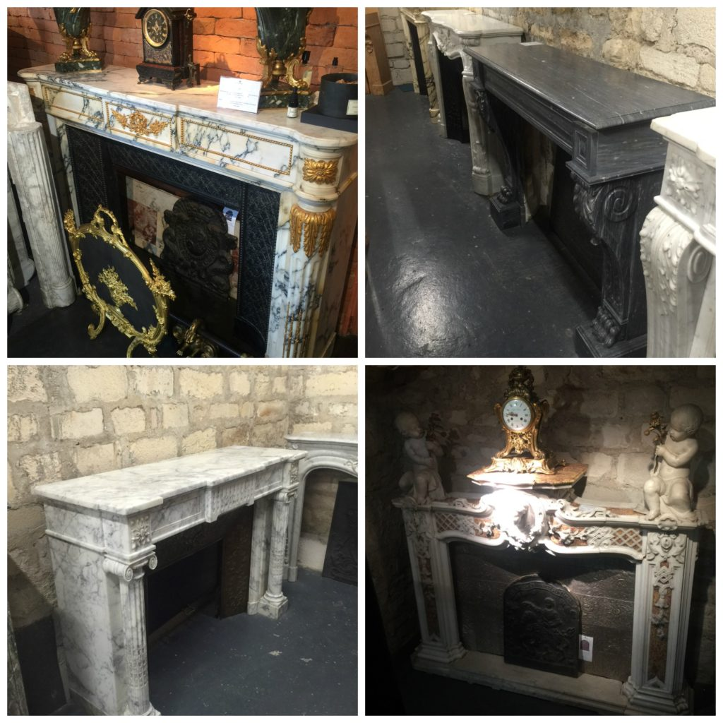 shopping for antique fireplace mantels at the Paris Flea Market