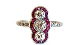 1920's diamond and ruby ring from Gareth Brooks at Alfies London