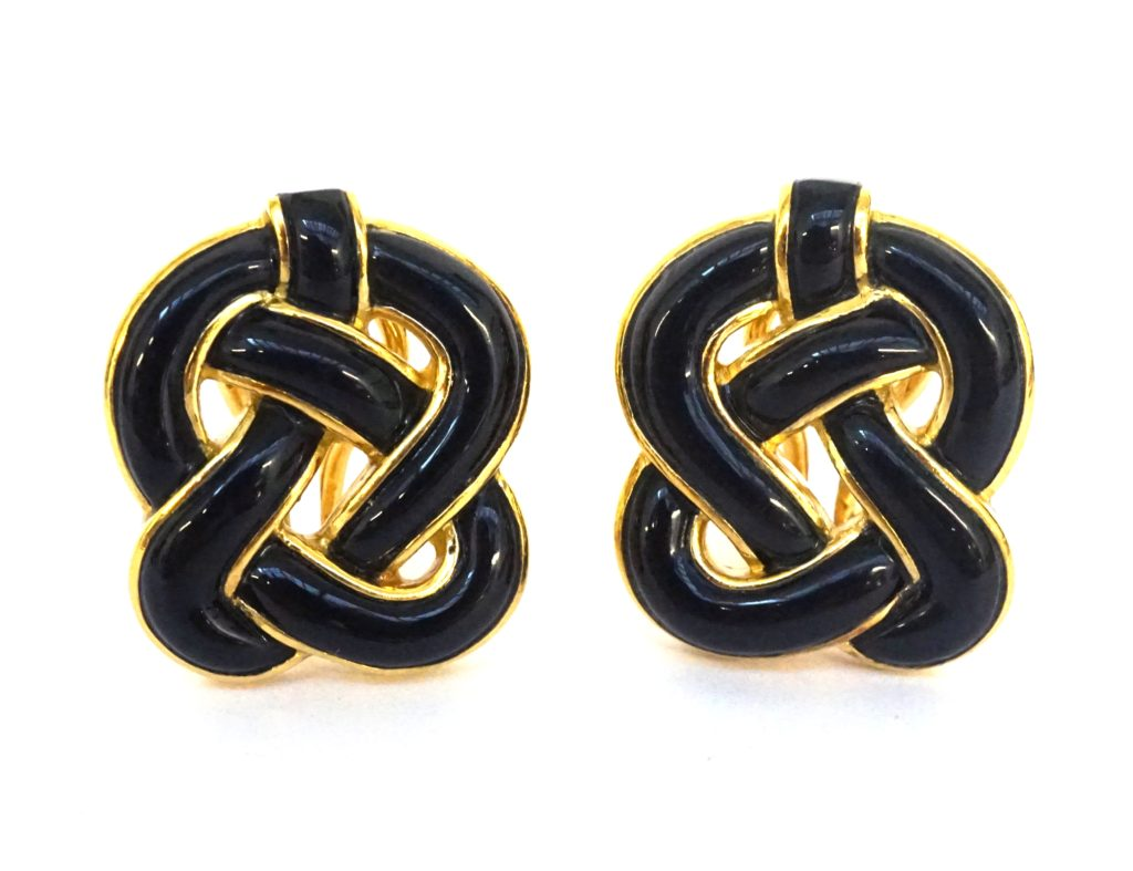 Horton London a pair of Tiffany Co 18ct gold earclips set with carved black onyx designed by Angela Cummings c1975 3500 at Grays London