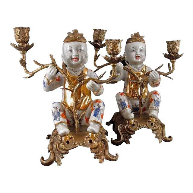 Chinoiserie Figural Porcelain and Ormolu Two Arm Candelabra DECASO