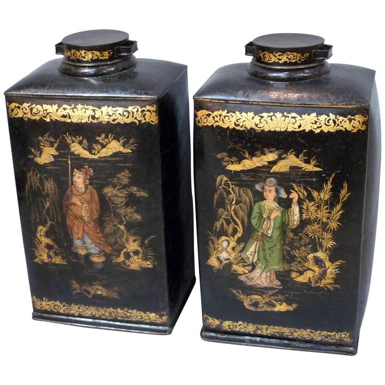 Pair of large, rare, 19th Century Chinoiserie Tea Canisters, 1st Dibs