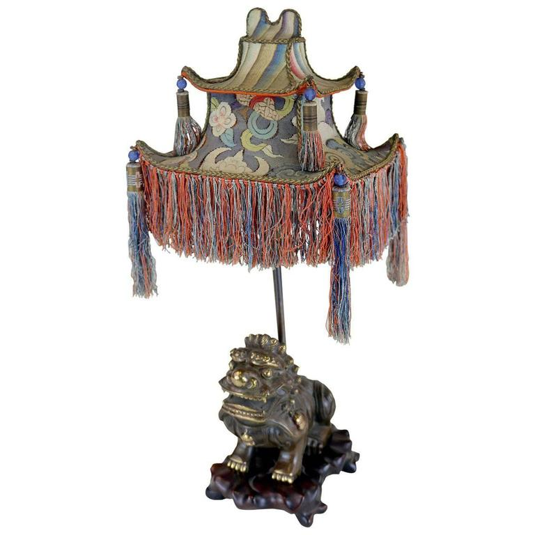 Rare 1920s Chinoiserie Lamp with Tassled Pagoda Shade and Foo Dog Base 1st Dibs