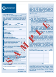 Sample US Customs Forms