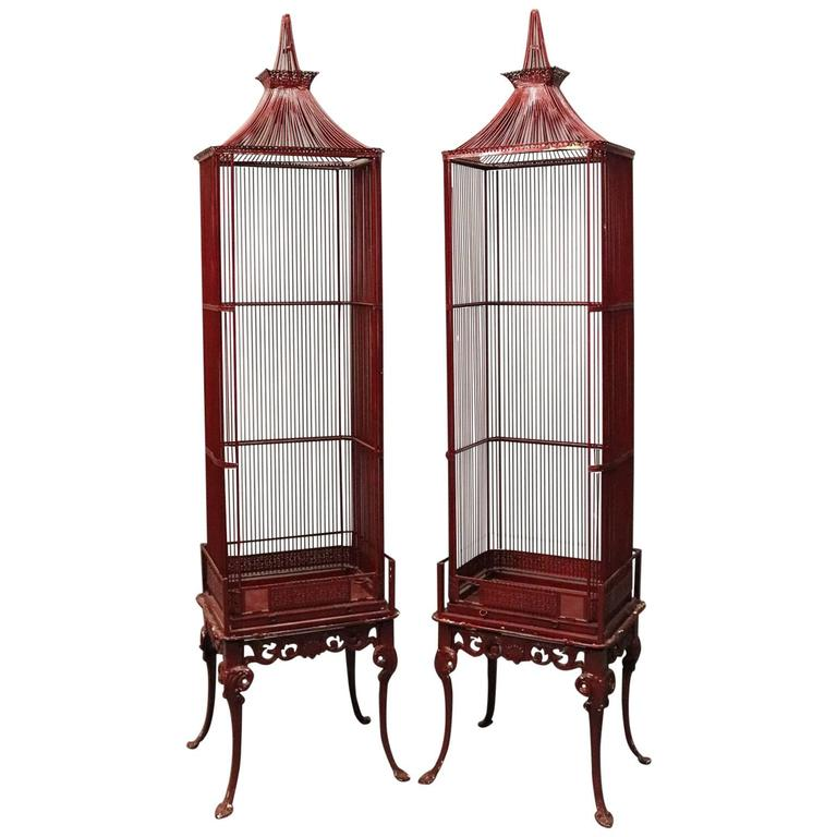 Vintage French Chinoiserie Pagoda Bird Cage Display Cabinets Circa 1940 1st Dibs